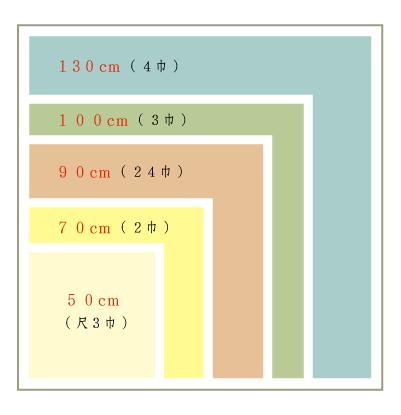 風呂敷サイズ一覧表